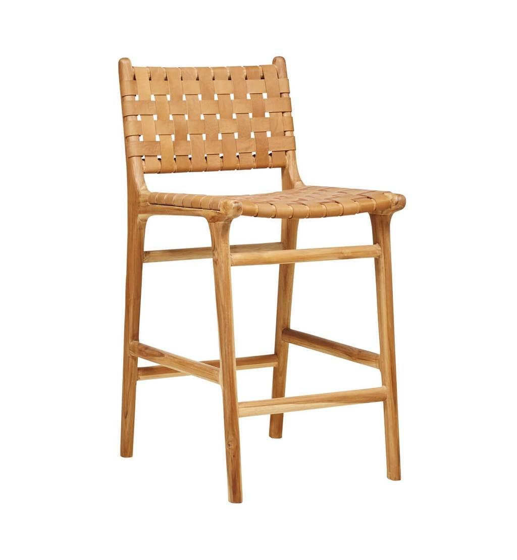 Handgemaakte bar stoel MARLO ( Teak & leer, kleur: Tan)