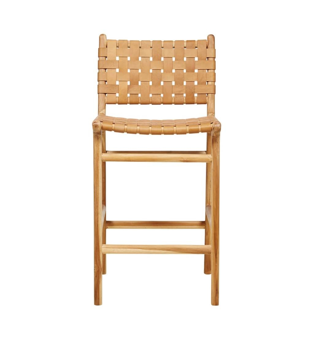 simply pure Handcrafted bar chair MARLO ( Teak & leather, colour: tan)