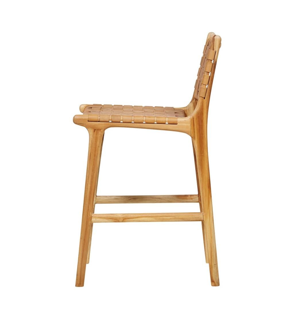 Handcrafted bar chair MARLO ( Teak & leather, colour: tan)