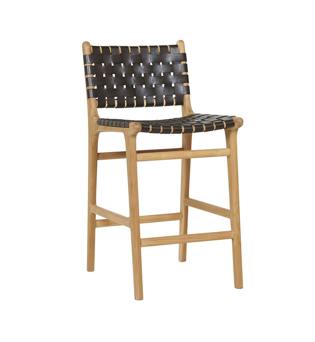 Handgemaakte bar stoel MARLO ( Teak & leer, kleur: zwart )