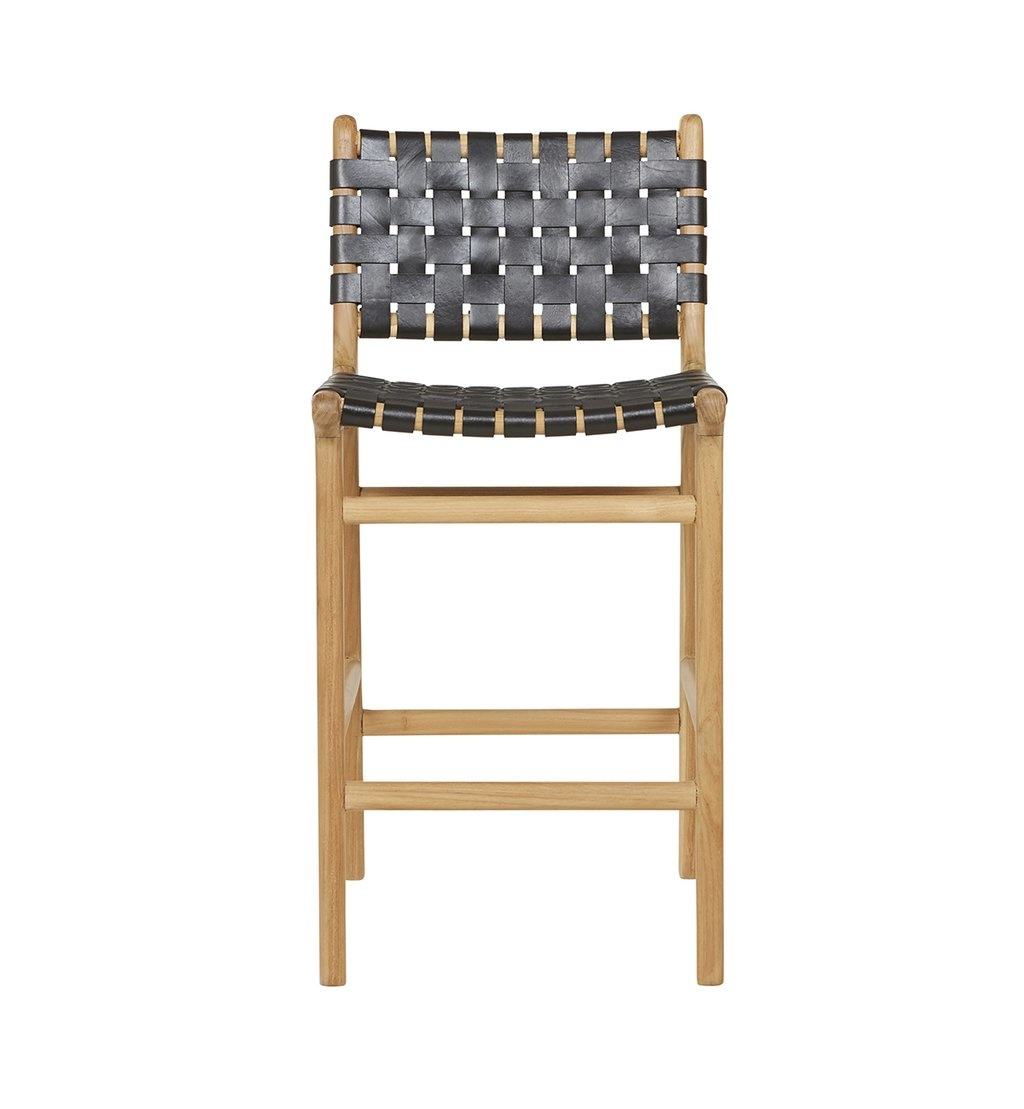 Handcrafted bar chair MARLO ( Teak & leather, colour: black)