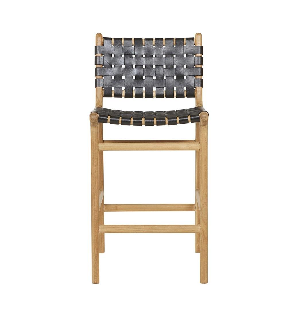 Handgefertigter Bar-Stuhl MARLO ( Teak & Leder, Farbe: schwarz)