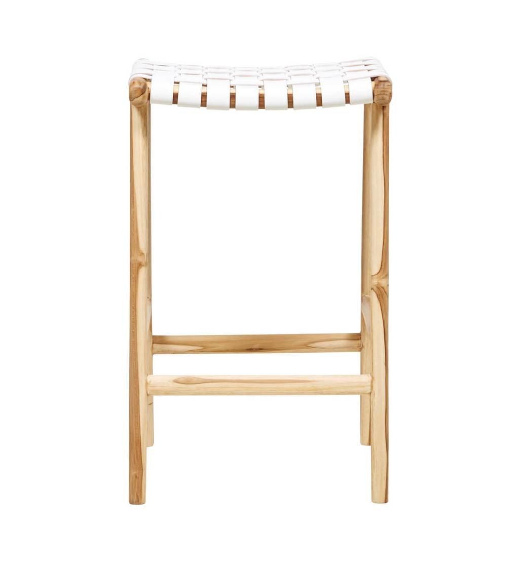 simply pure Handcrafted bar stool MARLO ( Teak & leather, colour: white)