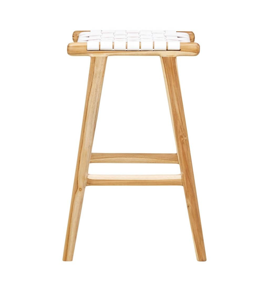 Handcrafted bar stool MARLO ( Teak & leather, colour: white)