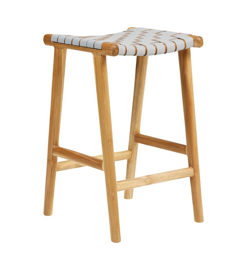 Handcrafted bar stool MARLO ( Teak & leather, colour: grey)