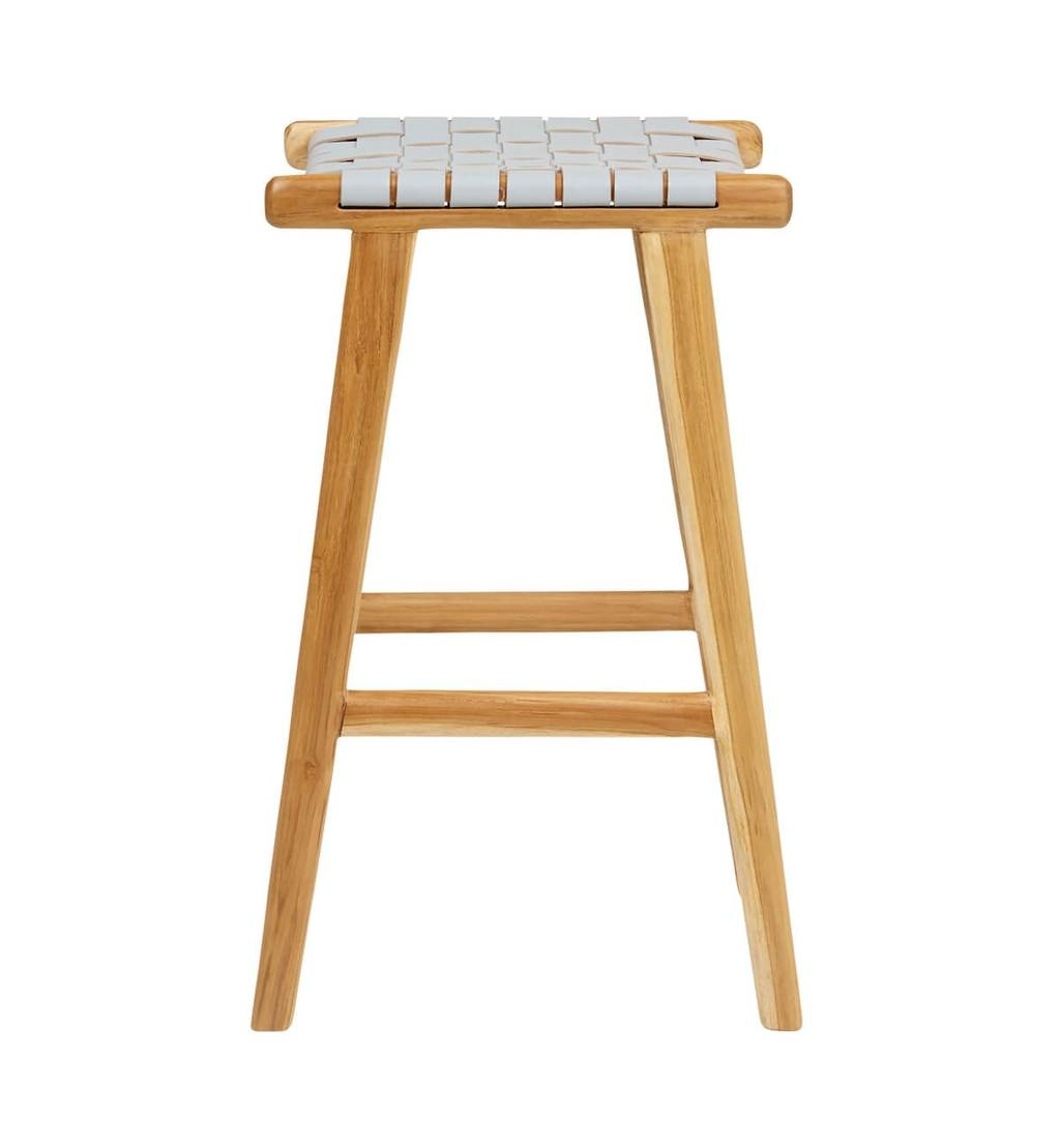 simply pure Handcrafted bar stool MARLO ( Teak & leather, colour: grey)