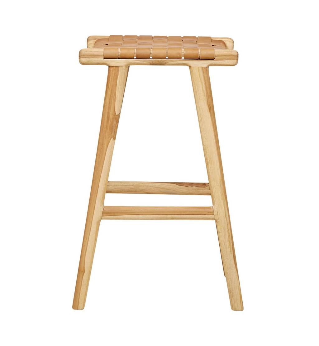 Handcrafted bar stool MARLO ( Teak & leather, colour: Tan)
