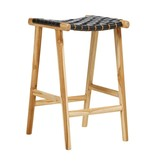 Handcrafted bar stool MARLO ( Teak & leather, colour: black)
