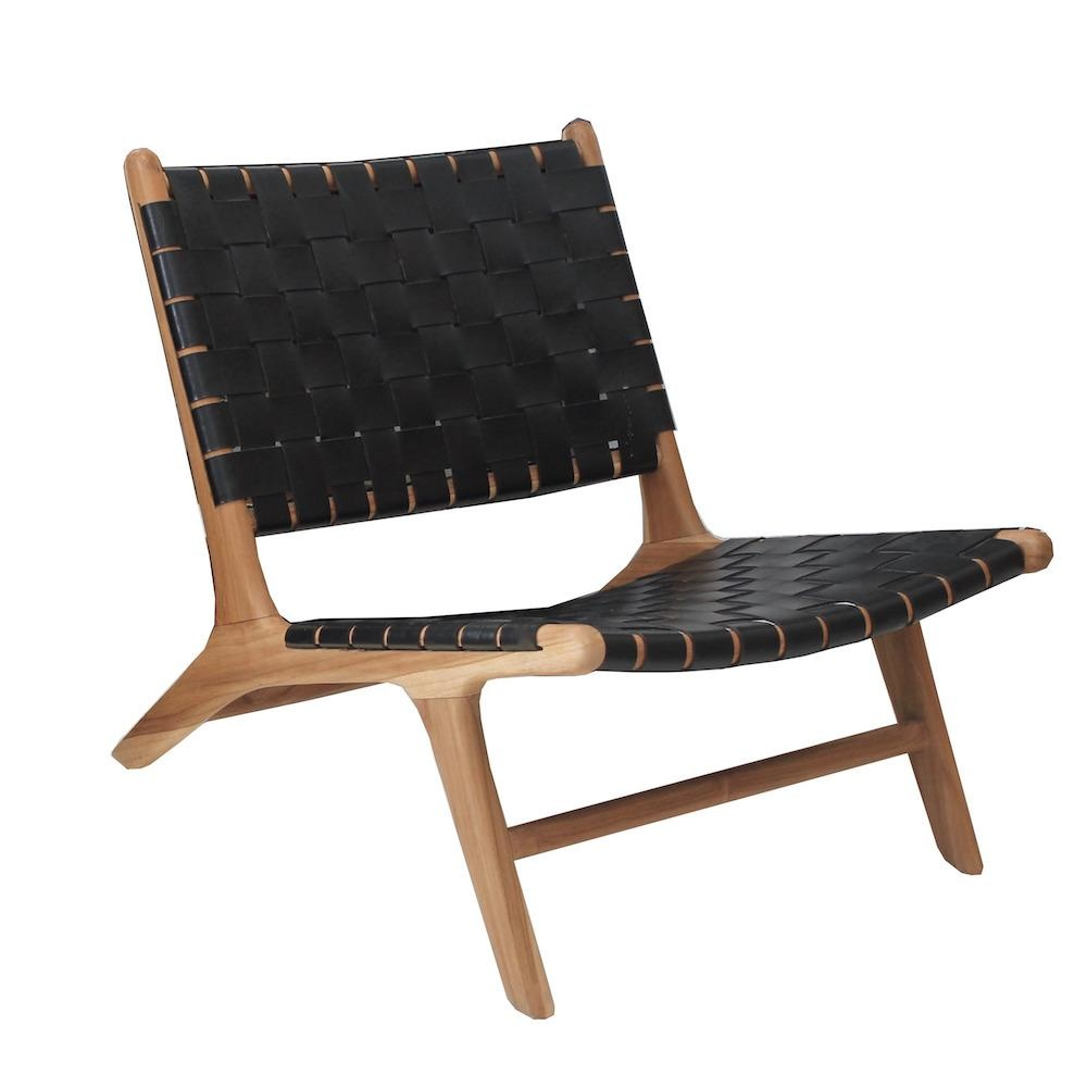 simply pure Handcrafted lounge chair MARLO ( Teak & leather)