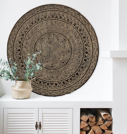 Hand carved wall panel TIMOR, round ( various sizes) antique brown