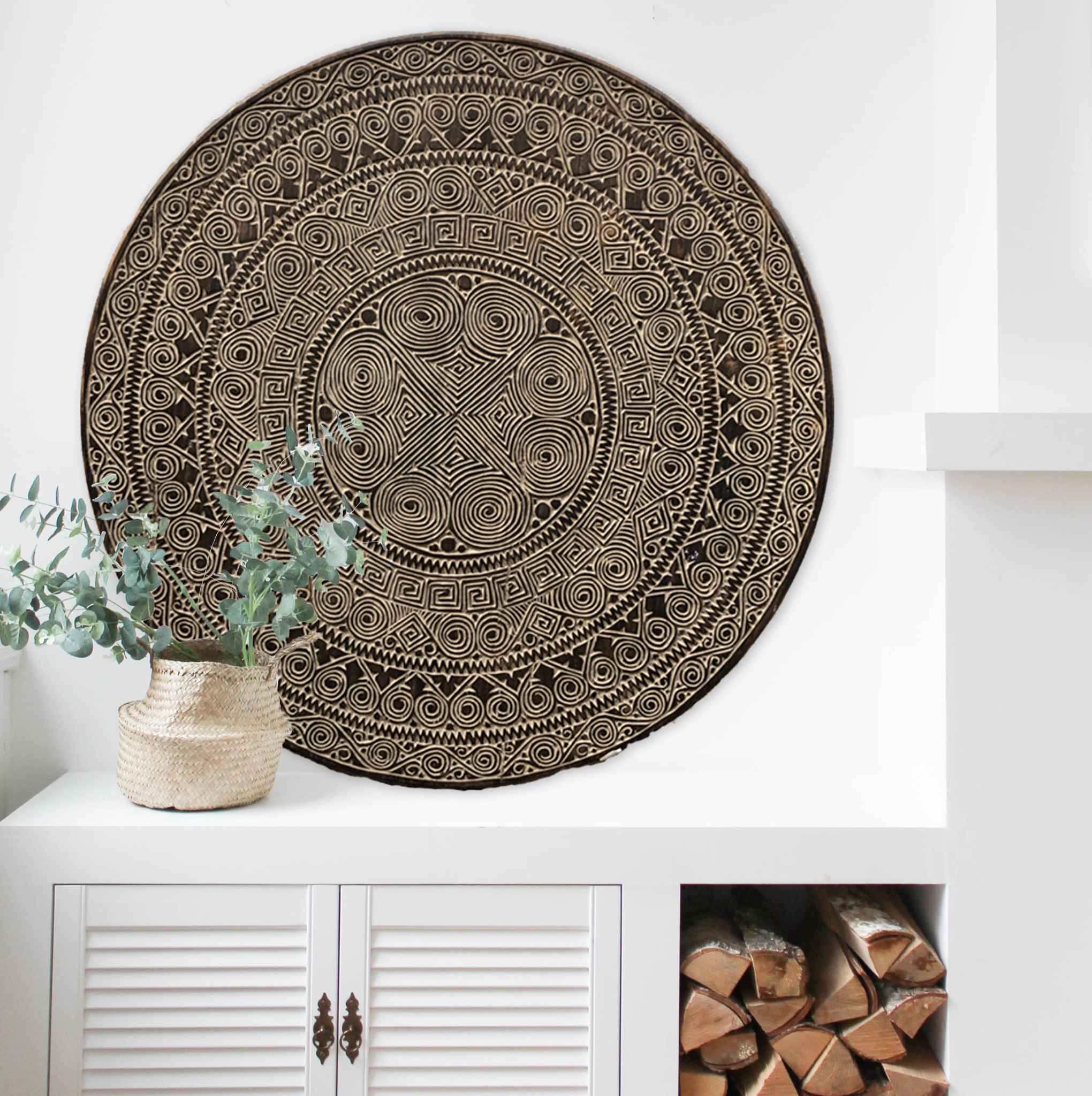 Hand carved wall panel TIMOR, square ( various sizes), colour: antique brown