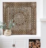 Hand carved wall panel TIMOR, square ( different sizes), colour: antique brown