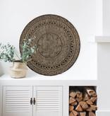 simply pure Handgeschnitzte Wandpaneele TIMOR, rund ( verschiedene Durchmesser, Farbe: antikbraun