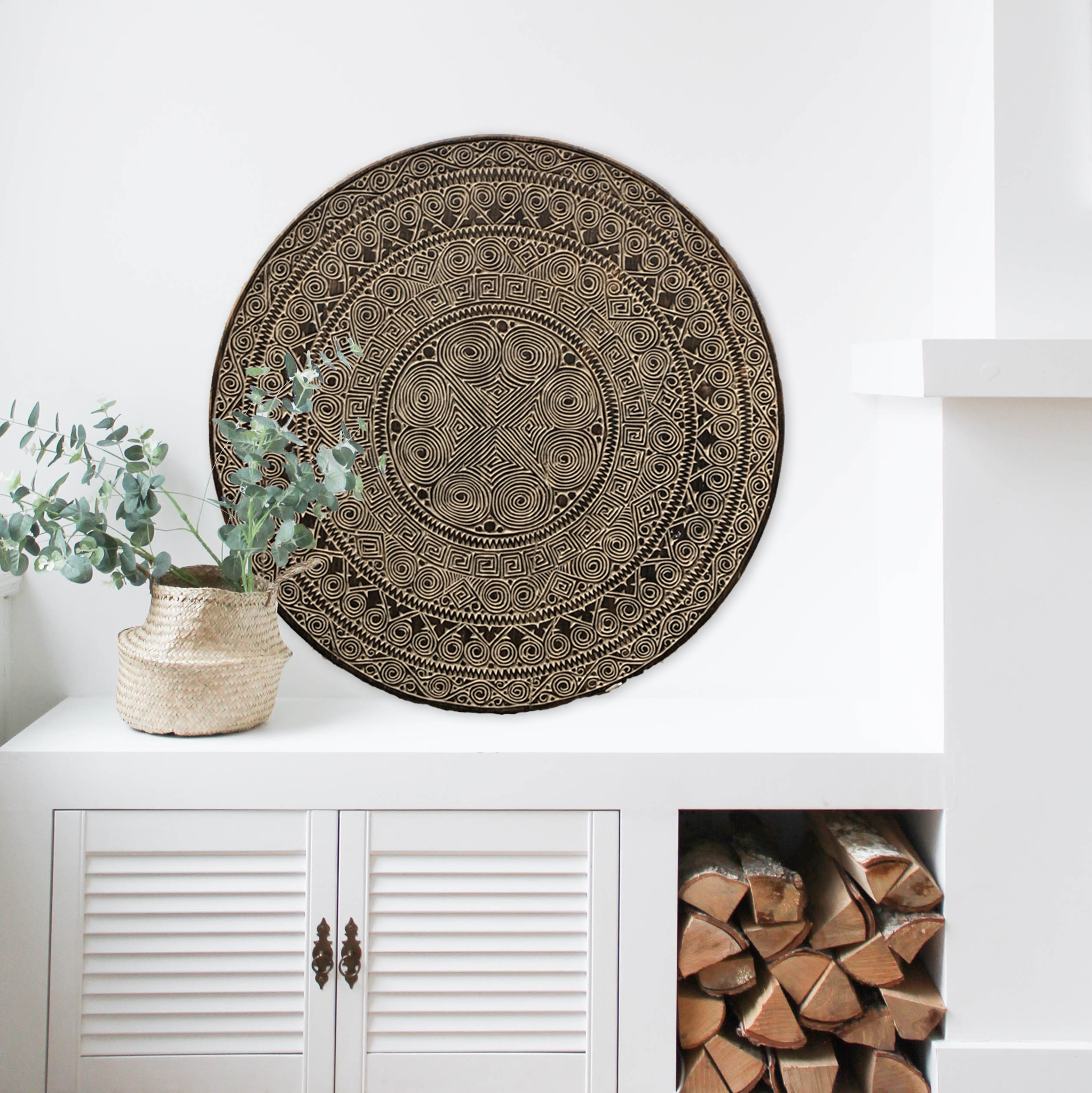 Handgeschnitzte Wandpaneele TIMOR, rund ( verschiedene Durchmesser, Farbe: antikbraun