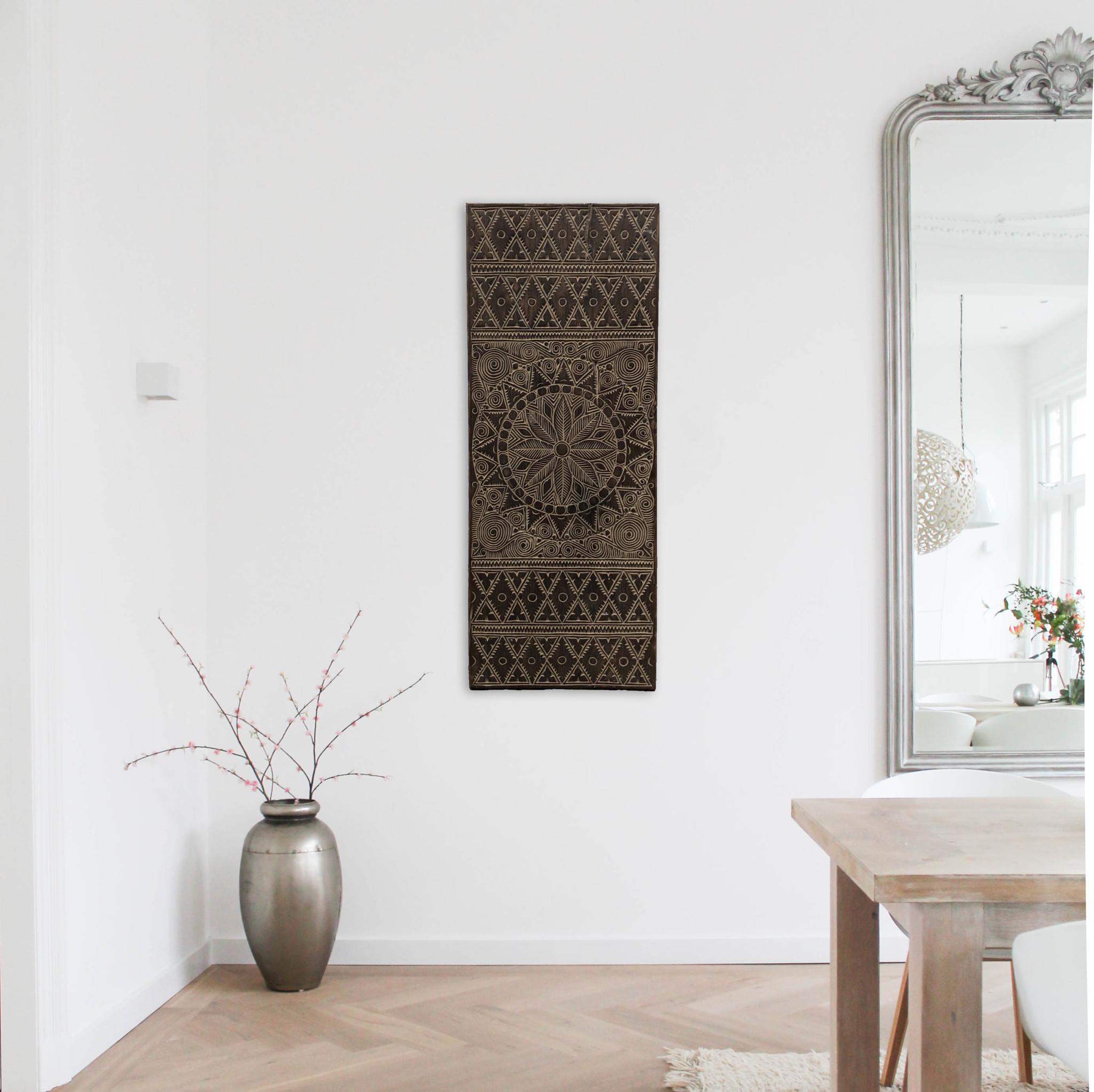 simply pure Houtsnijwerk wandpaneel NEW TIMOR, langwerpig ( 150x60 cm), kleur: antiek bruin
