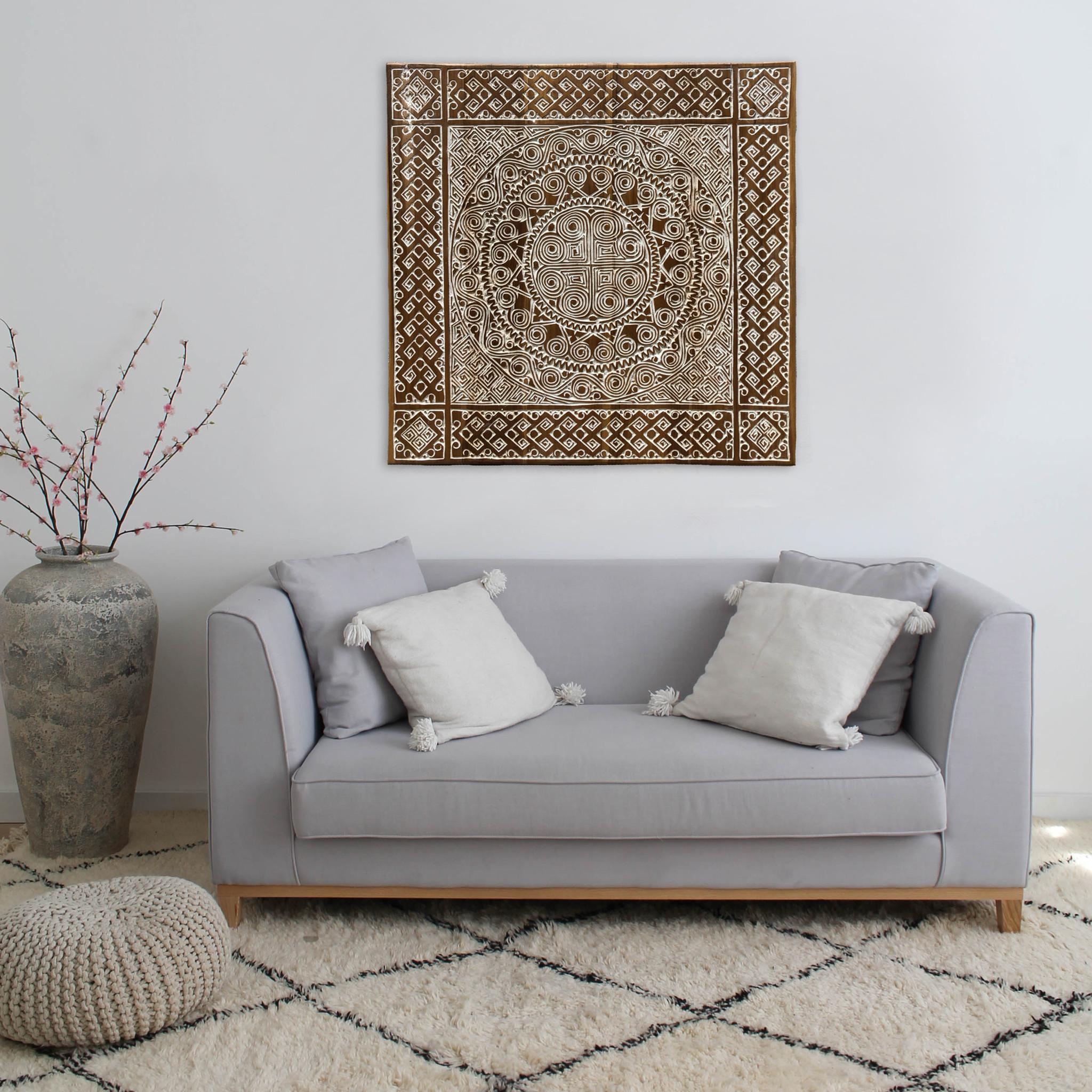 Houtsnijwerk wandpaneel TIMOR, vierkant ( verschillende afmetingen), kleur: antiek bruin