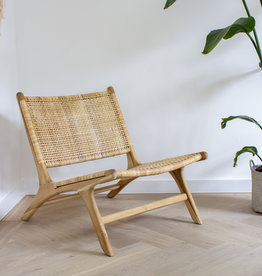 simply pure Lounge-Stuhl ROTY aus Holz und Rattan
