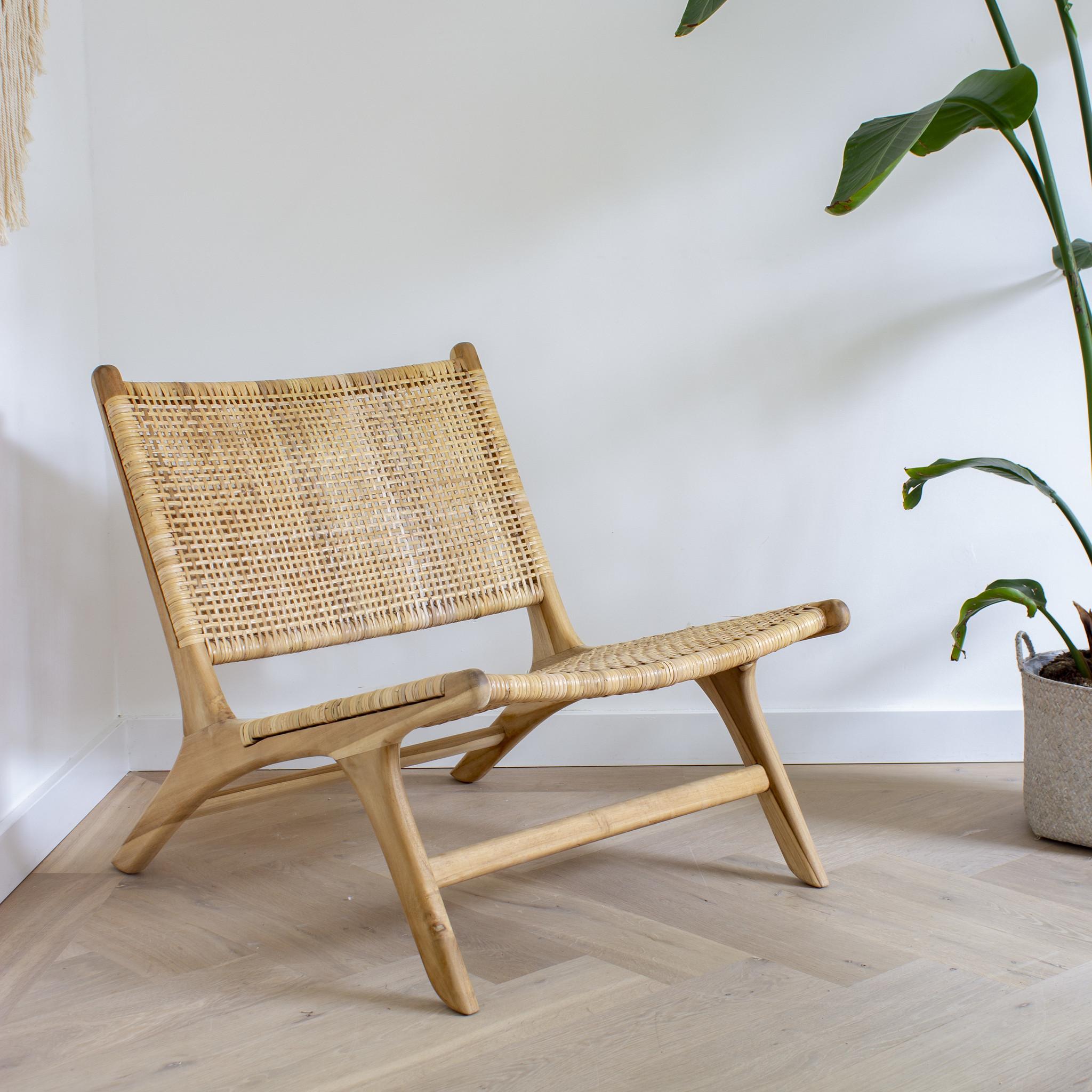 simply pure Lounge stoel ROTY van teakhout en rotan