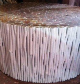 Houten salon tafel Design RAMI (rond) Kleur: wit / Verschillende afmetingen mogelijk