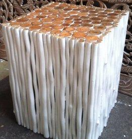 Houten bijzettafel Design RAMI (vierkant) Kleur: wit / Verschillende afmetingen