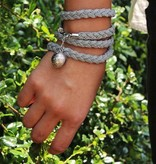 simply pure Leather wrap bracelet STAR, colour: dark grey