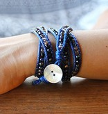 simply pure Wrap bracelet CRYSTAL MIX Colour: Dark Blue