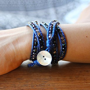 simply pure Wikkelarmband CRYSTAL MIX Kleur: Donkerblauw