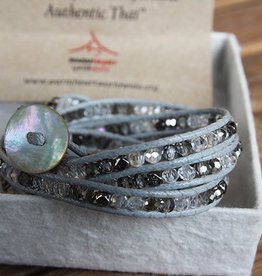CRYSTAL MIX Wrap Bracelet, colour: grey