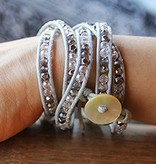 simply pure CRYSTAL MIX Wrap Bracelet, colour: grey