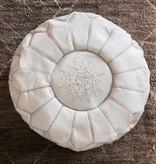 simply pure Authentieke, Marokkaanse poef van 100% kalfsleer ( Wit)