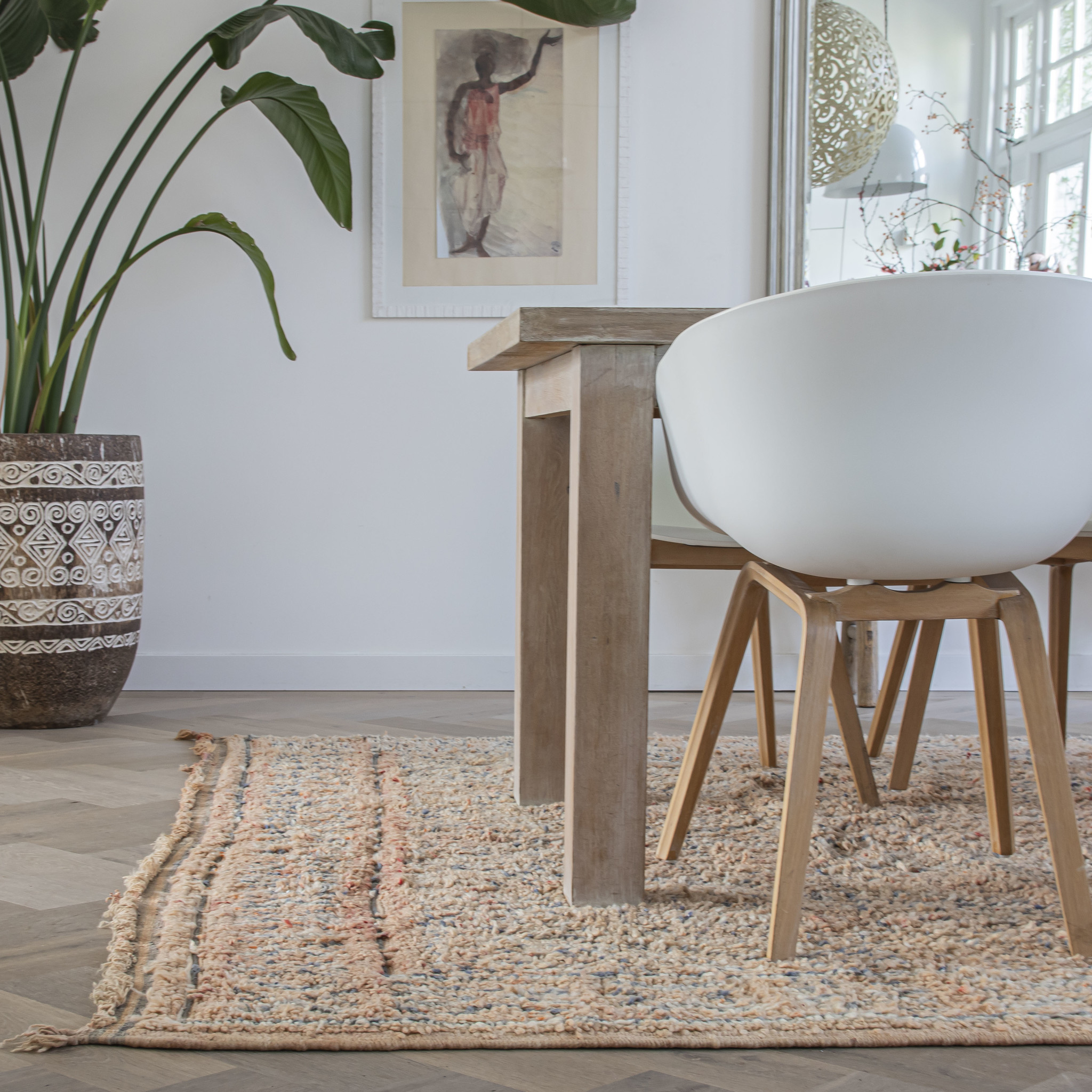 Simply Pure Handgefertigter Vintage Beni M'guild Teppich aus Marokko  230 x 390 cm
