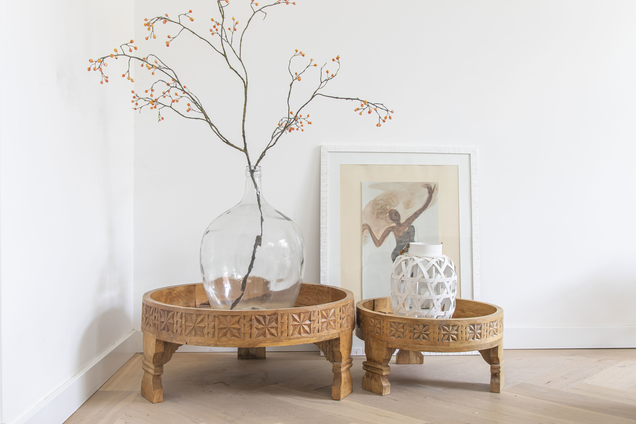 Simply Pure Hand carved Indian chakki tables natural ( several sizes)