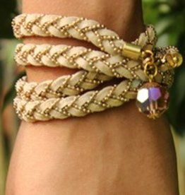 simply pure Leather wrap bracelet STAR, colour: beige