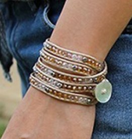 simply pure Wikkelarmband CRYSTAL MIX Kleur: Beige
