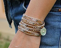 Wickelarmband CRYSTAL MIX Farbe: Beige