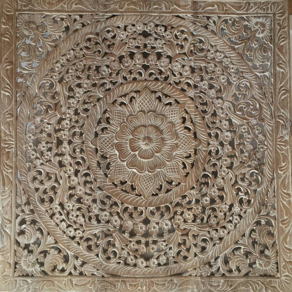 simply pure Hand carved wall panel Design LOTO white wash, different sizes available