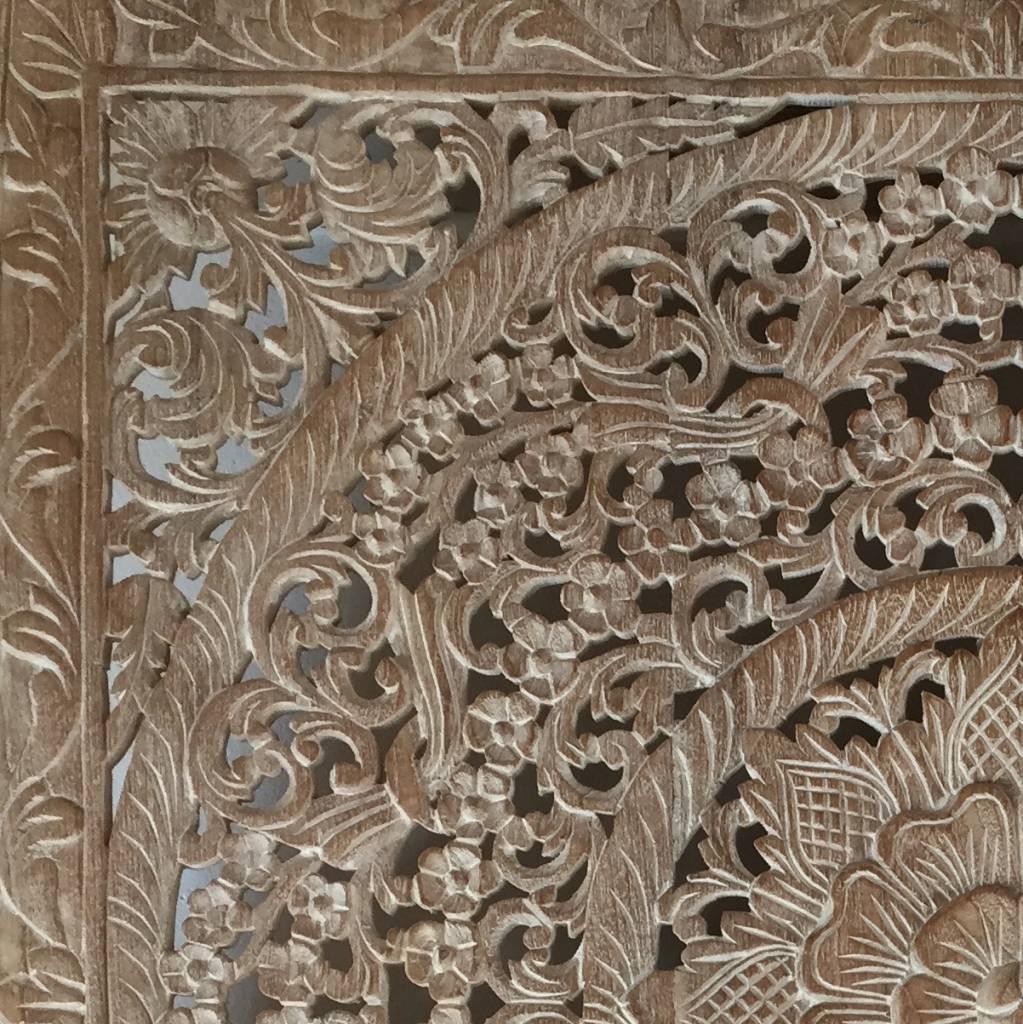 simply pure Handgeschnitztes Wandpaneel Design LOTO whitewash, verschiedene Abmessungen