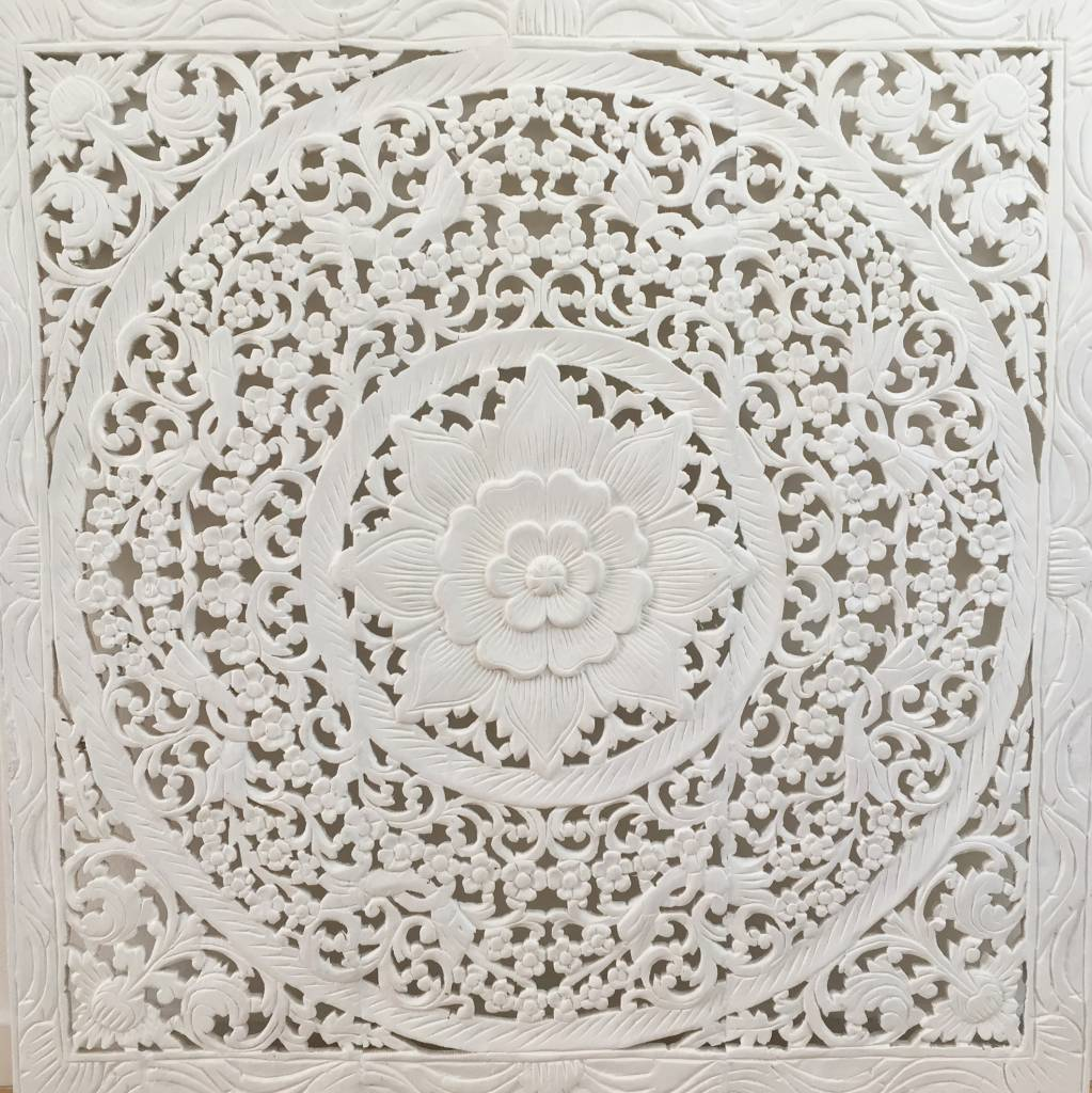 simply pure Hand carved wall panel Design LOTO white , several sizes