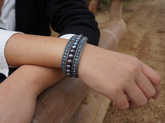 Armband ELEGANZA mit blauer Naturperle | Simply Pure