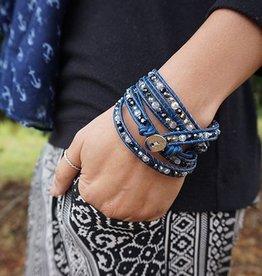 Wikkelarmband CRYSTAL MIX Kleur: Donkerblauw