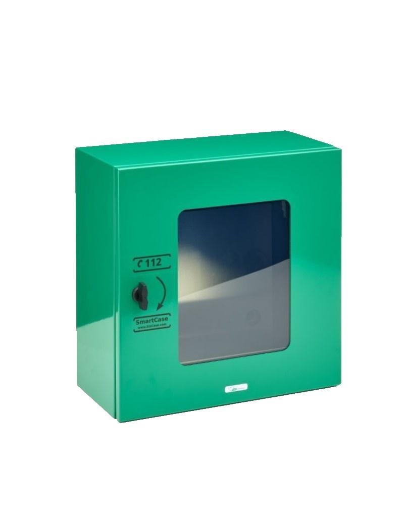 Sixcase Stevige RVS buitenkast geschikt voor ieder merk AED. Compleet met verwarming, ledverlichting, fan-koeling, alarm en isolatie.