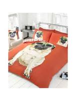 Doghouse Designs Pug Hond Rood Dekbedovertrek