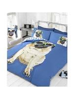 Doghouse Designs Mopshond Blauw Dekbedovertrek Tweepersoon