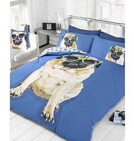 Doghouse Designs Pug Hond Blauw Dekbedovertrek Tweepersoon