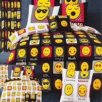 Emoji Emoji Dekbedovertrek Expressions Zwart