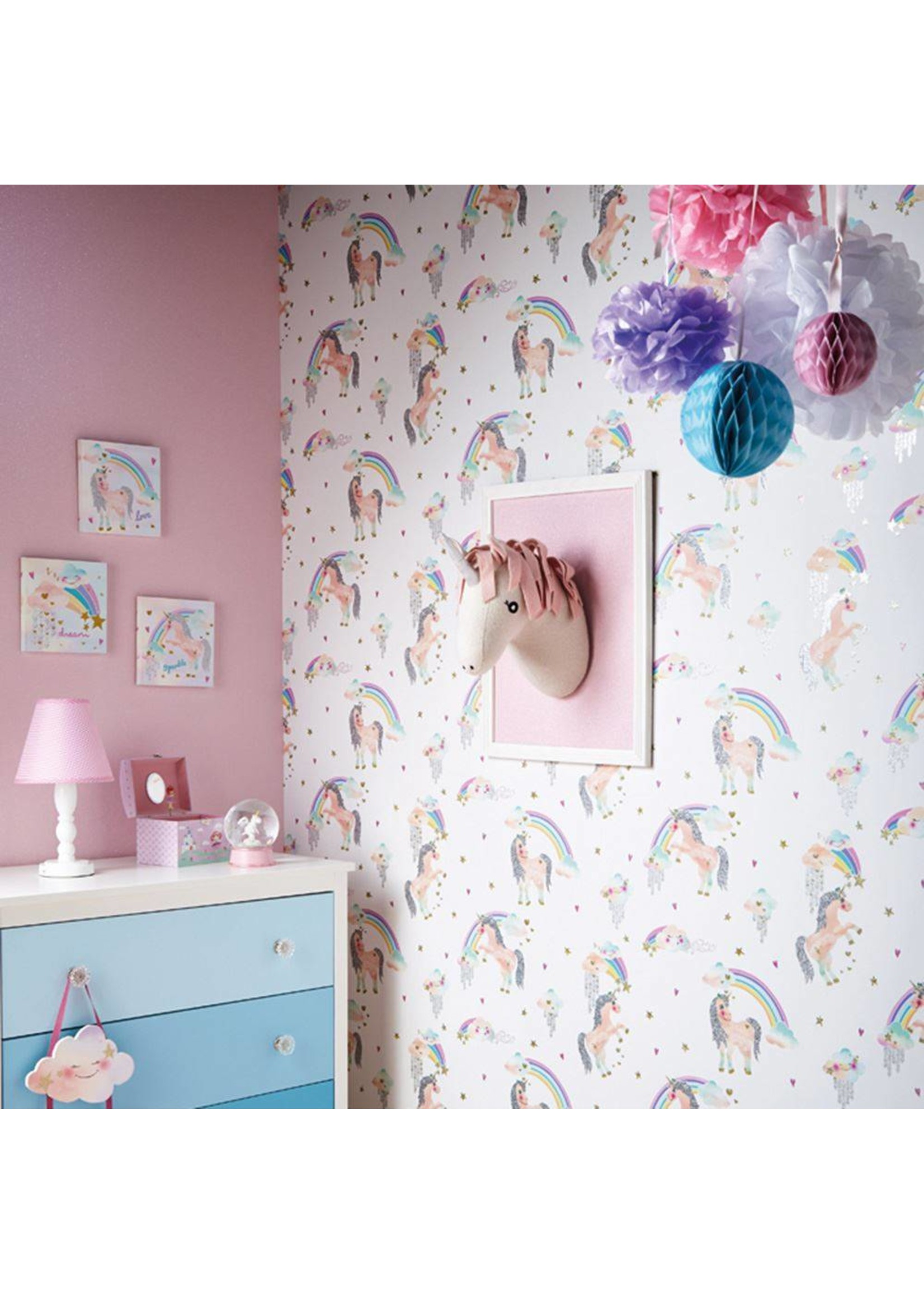 Arthouse Regenboog Unicorn Eenhoorn Glitter Behang