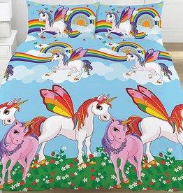Kidz Regenboog Unicorn Tweepersoons Dekbedovertrek