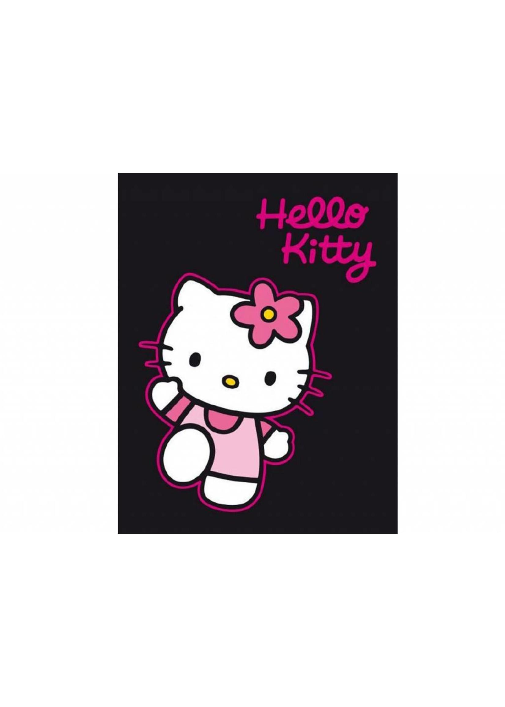 Sanrio  Hello Kitty Fleece Deken Zwart