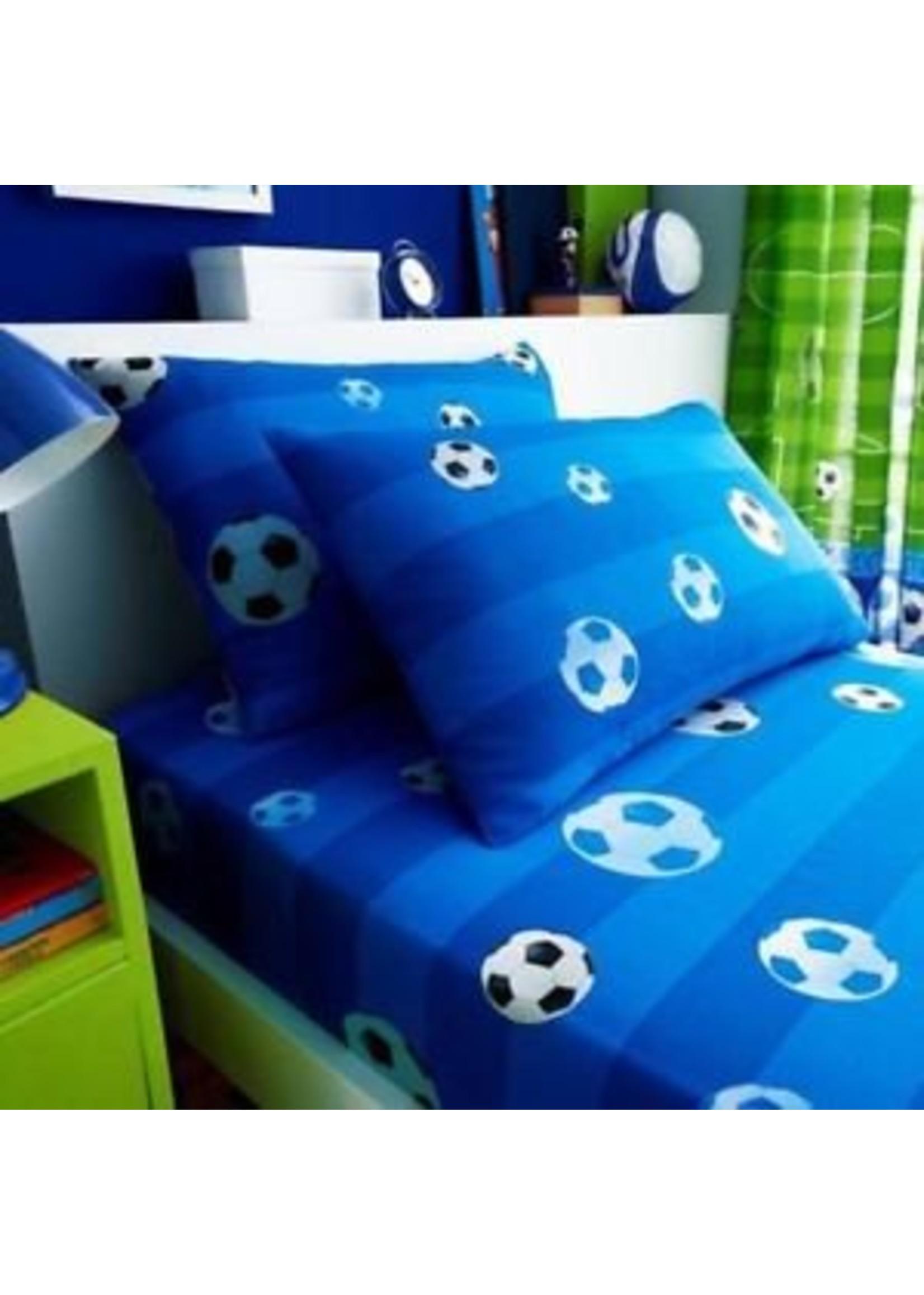 Voetbal Hoeslaken en Kussensloop  Blauw