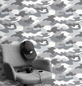 Kidz Club Camouflage Behang Grijs